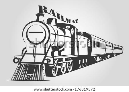TRAIN OUTLINE vector - stock vector