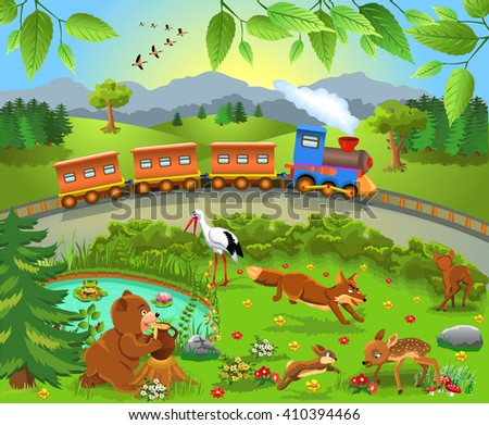 Train passing by wild animals