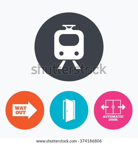 Train railway icon. Automatic door symbol. Way out arrow sign. Circle flat buttons with icon. - stock vector