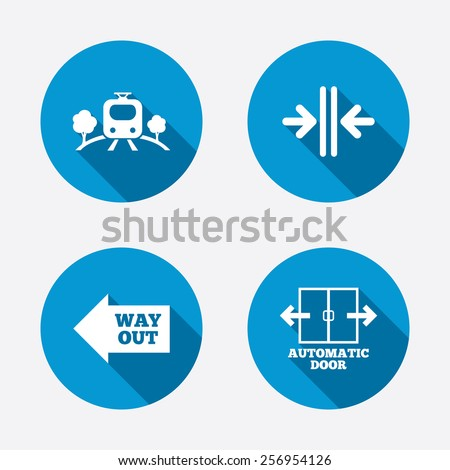 Train railway icon. Overground transport. Automatic door symbol. Way out arrow sign. Circle concept web buttons. Vector - stock vector