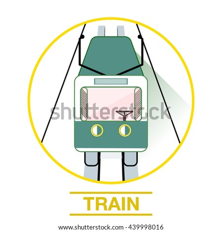 Train rides on rails icon logo. Vector illustration colorful train icon or logo. train Icon.Vector. Art. The train travels along the rails, Vector tram, trolley, bus. Vector image tram on the rails - stock vector