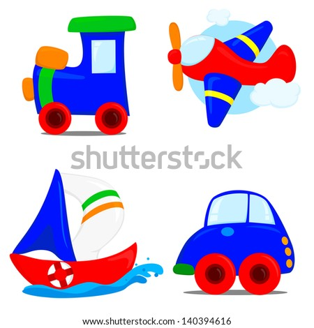 train, ship, airplane and car