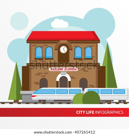 Train station building icon in the flat style. Railway station. Concept for city infographic. Different types of Municipal life of the city - stock vector