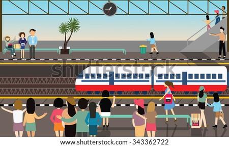 train station busy illustration vector flat city transportation cartoon - stock vector