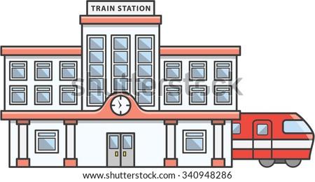 Train station Doodle Illustration cartoon - stock vector