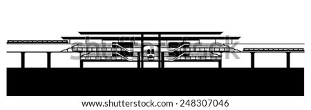 Train station vector - stock vector