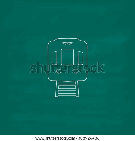 Train subway. Outline vector icon. Imitation draw with white chalk on green chalkboard. Flat Pictogram and School board background. Illustration symbol - stock vector