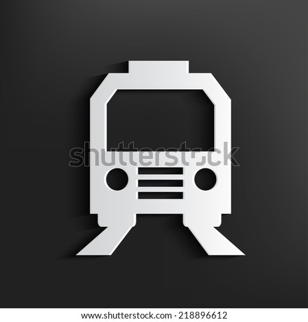 Train symbol on black background,clean vector - stock vector