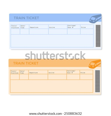 Train tickets in two versions. Vector illustration. - stock vector