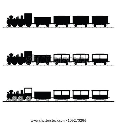 train vector illustration black silhouette on white - stock vector