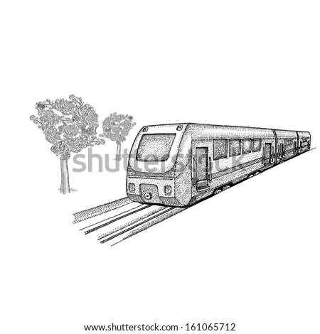 Train with trees - stock vector