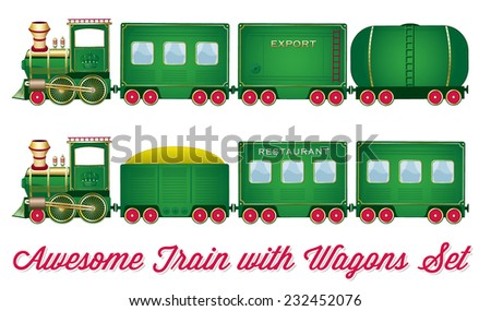 Train With Wagons Vector Green Locomotive with Red Wheels and Different Wagons Looks like Cartoon Set or Collection - stock vector