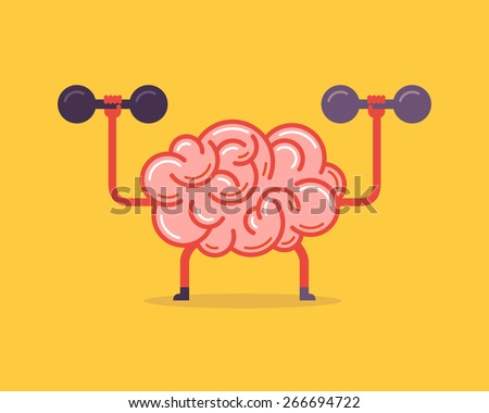 Train your brain. Creative concept, vector illustration. - stock vector