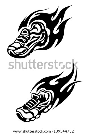 Trainers with tribal flames as a sports tattoo or mascot, such a logo. Jpeg version also available in gallery - stock vector