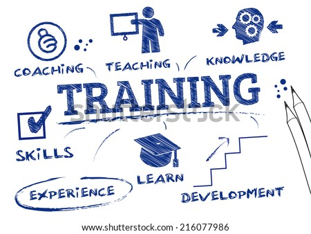 training- chart with keywords and icons - stock vector