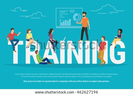 Training concept illustration of young people attending the professional training with skilled instructor. Flat design of guys and young women sitting on the big letters - stock vector