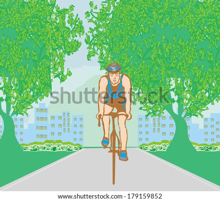 training cyclists in the city park - stock vector
