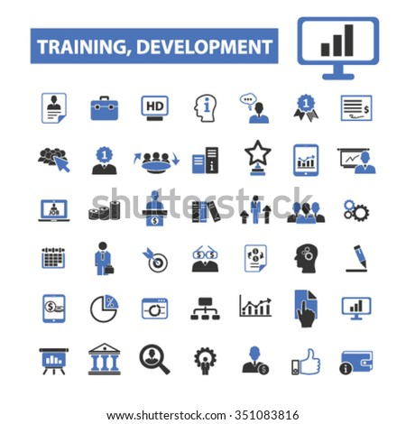training development, business training, icons, signs vector set for infographics, mobile, website, application  - stock vector