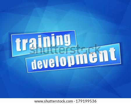 training development over blue background, flat design, business education concept words, vector - stock vector