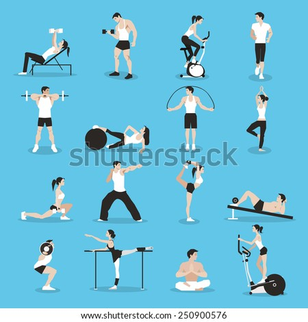 Training people icons set for sport and fitness infographics. Flat style design. Vector illustration. - stock vector