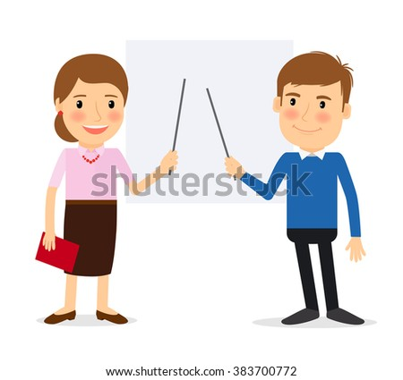 Training people. Woman pointing at whiteboard and man pointing at whiteboard. Vector illustration - stock vector