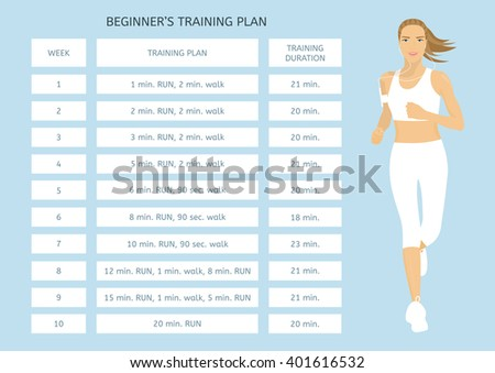 Training program for beginners. Jogging plan. Young woman running - stock vector