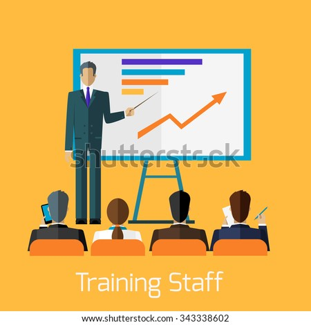Training staff briefing presentation. Staff meeting, staffing and corporate training, employee training, mentor and people, business seminar, meeting group illustration - stock vector
