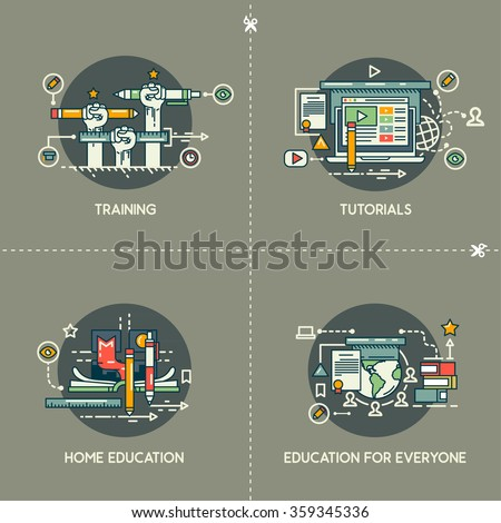 Training, tutorials, home education, education for everyone - stock vector