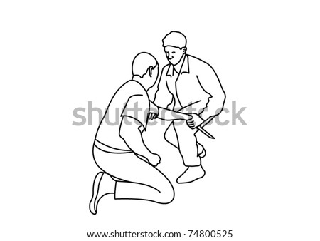 Training with knives - stock vector