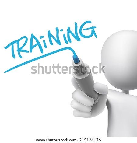 training word written by 3d man over white  - stock vector