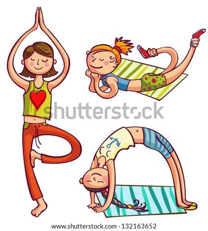 Training yoga girls vector illustration. Fitness women club - stock vector
