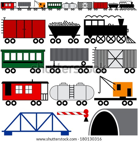 Trains cars and engine to make your own train - stock vector