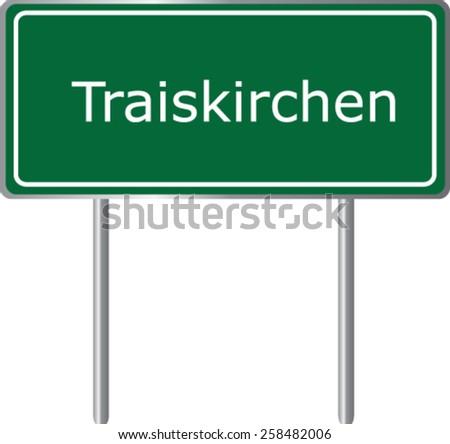 Traiskirchen, Austria, road sign green vector illustration, road table - stock vector