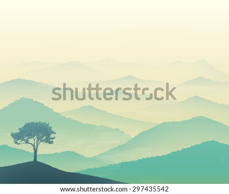 Tranquil hills, vista landscape with tree, early morning in mountains, vector, foggy dream landscape - stock vector
