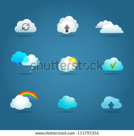 transfer files, cloud computing app vector icons, - stock vector