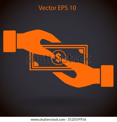 transfer money from hand to hand vector illustration
