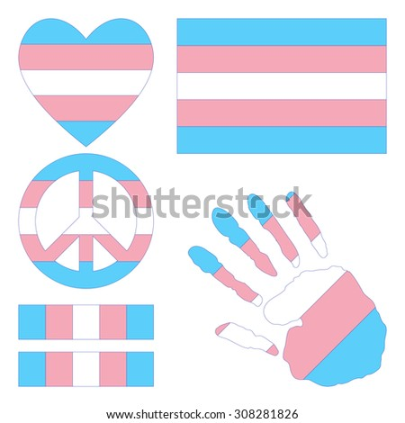 Transgender pride flag, heart, pacific sign, equality symbol and hand print. Collection of gay culture symbols. Gay pride. Gay pride flag. LGBT, gay pride parade concept. Vector illustration. - stock vector