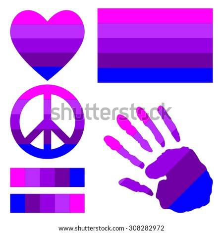 Transgender pride flag, heart, pacific sign, equality symbol and hand print for you design. Collection of gay culture symbols.  - stock vector