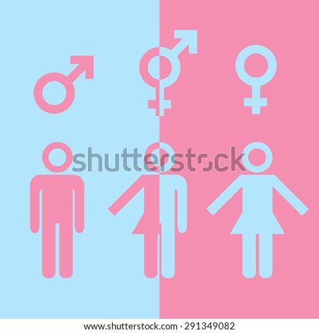 Transgender transsexual concept. Icon of different gender persons with male female marker. Vector illustration on pink blue background. - stock vector