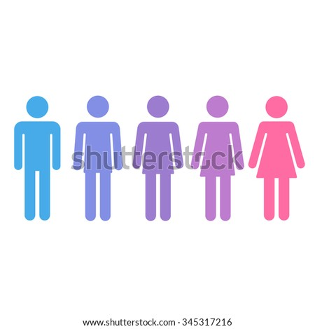 Transition process of transgender person from male to female. Gender fluid transsexual concept. Isolated vector illustration. - stock vector