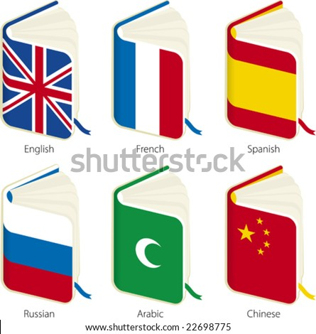 Translation books (vector). Only global colors. CMYK. Separate shapes. Easy color changes.