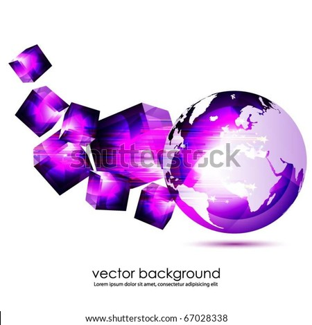 translucent globe with 3d cubes - stock vector