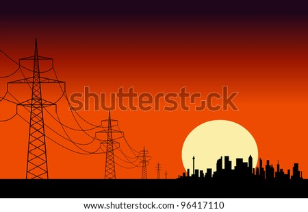 Transmission lines leading to the city silhouettes at dawn. Easy editable layered vector illustration - stock vector