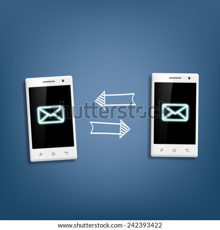 transmission of messages between phones - stock vector