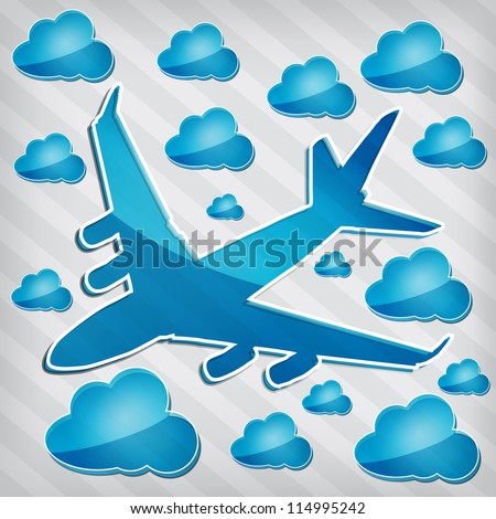 transparency Four-engine jet airliner in the air with blue cloud computing icons on a stripped background