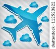 transparency Four-engine jet airliners in the air with blue cloud computing icon on a stripped background - stock photo