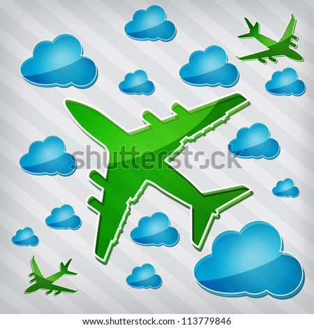 transparency Four-engine jet airliners in the air with blue cloud computing icons on a stripped background