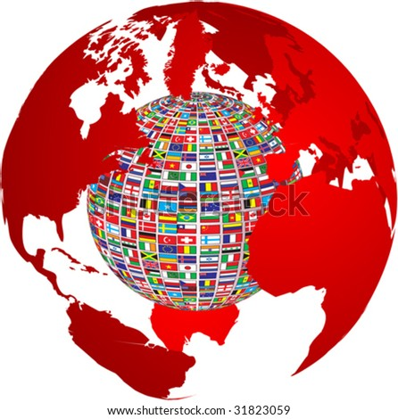 transparency world map with country flags on it - stock vector