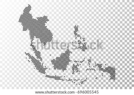 Transparent   Abstract Southeast Asia Map Radial Dot Planet, Lines, Global  World Map Halftone