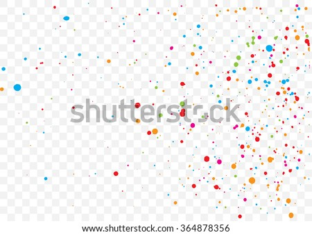 Transparent background with many falling tiny round random confetti, glitter and serpentine pieces blow and sprayed on transparent background. Isolated. - stock vector